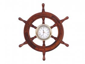 "Shisham Wood And Brass 12"" Nautical Ship Wheel Clock"
