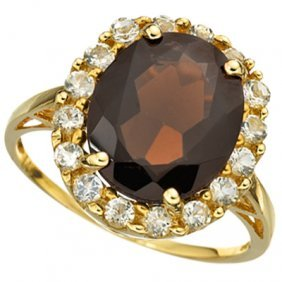 Genuine 5.61 Ctw Smokey Topaz And White Topaz Solid 10k