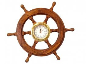 "Shisham Wood And Brass 18"" Nautical Ship Wheel Clock"
