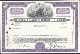 Stock Certificate From The Atlantic Refining Company (a