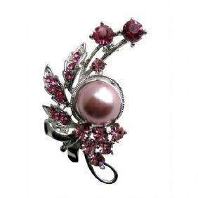 Rose Pink Crystals & Pink Pearls Pink Cubic Zircon Broo