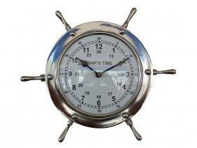 "Nautical Chrome 11"" Ship Wheel Clock"