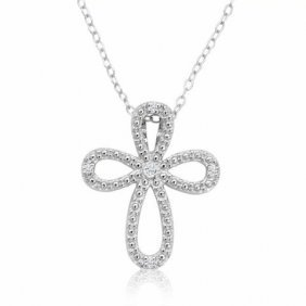 Small Diamond Cross Necklace .925 In Sterling Silver