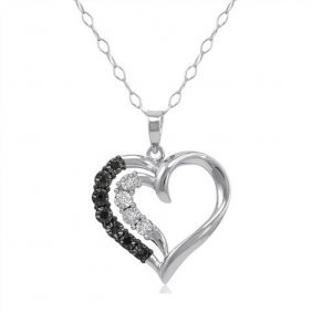 Igi Certified Black/white Diamond Heart Necklace In .92