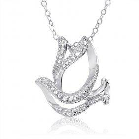 Sterling Silver Diamond Dove Necklace