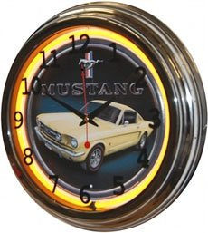 "Neon Wall Clock ""old Ford Mustang"""