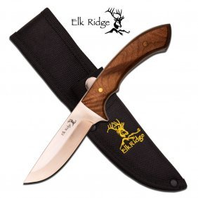 "Elk Ridge 8.5"" Fixed Blade Knife; Burl Wood Handle, Com"