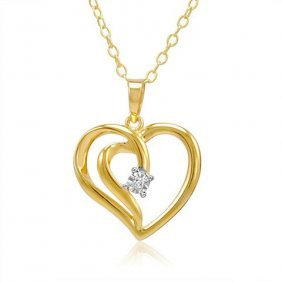 Diamond Heart Necklace In 14k Gold Plated Sterling Silv