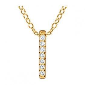14k Gold 0.05 Ctw Diamond Vertical Bar Necklace