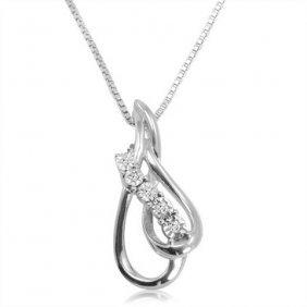 .05 Ctw Diamond Tear Drop Necklace In Sterling Silver