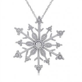 Diamond Snowflake Necklace In Sterling Silver