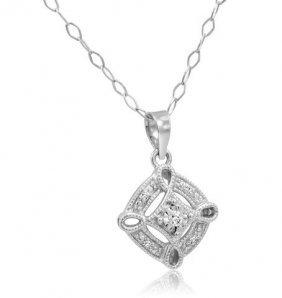 Igi Certified Sterling Silver Diamond Square Necklace