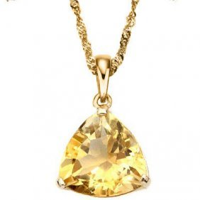Genuine 0.50 Ctw Citrine 10k Solid Yellow Gold Pendant