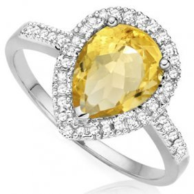 Genuine 0.99 Citrine And Diamond Platinum Plated .925 S