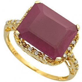 Genuine 6.1 Ctw Ruby And Diamond 10k Solid Yellow Gold