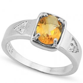 Genuine 1.00 Ctw Citrine And 0.012 Diamond Platinum Pla