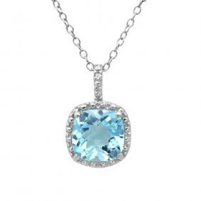 2.50 Ctw Blue Topaz/diamond Necklace In .925 Sterling S
