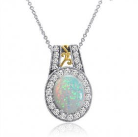 Sterling Silver Lab Created Opal/white Sapphire Necklac