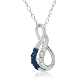 Yellow/white Diamond Swirl Necklace In Sterling Silver