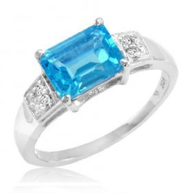 Sterling Silver 2.00 Ctw Swiss Blue Topaz And Diamond R