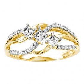 14kt Yellow Gold 0.50ctw Diamond Ladies 3 Stone Bridal