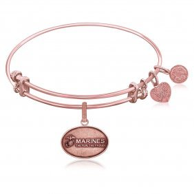 Expandable Bangle In Pink Tone Brass With U.s. Marines
