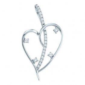 14kt White Gold 0.20ctw Diamond Ladies Fashion Heart Pe