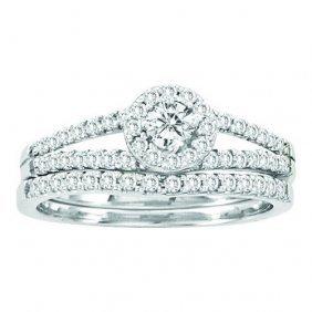 14kt White Gold 0.65ctw Round Diamond Ladies Fashion Ri