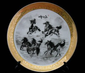 Chinese Stallions Porcelain Plate W/stand