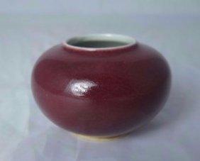 A Chinese Red Glazed Porcelain Brush Pot W/ Mark