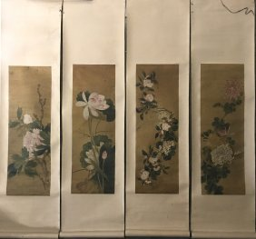 Four Chinese Paintings On Skil Of Flower