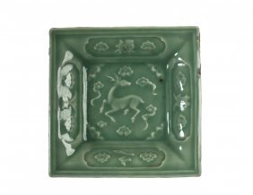Chinese Longquan Celadon Glazed Square Form'deer'plate