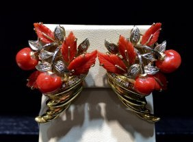Natural Red Coral Ring With 14k Gold And Diamonds
