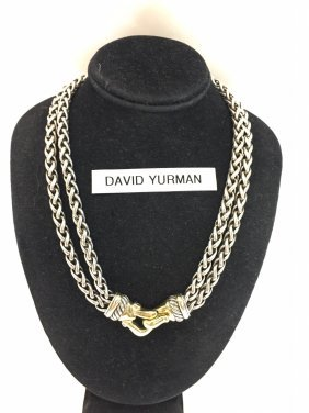 David Yurman 14k Yg/silver Curb Chain Necklace