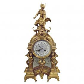 Beautifully Cast Brass And Porcelain Time Striking Cloc