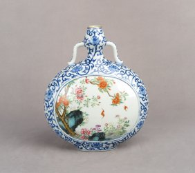 Chinese Blue & White Polychrome Enamel Moonflask