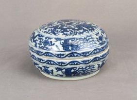 Blue And White Porcelain Dragon Phoenix Box, 17th C