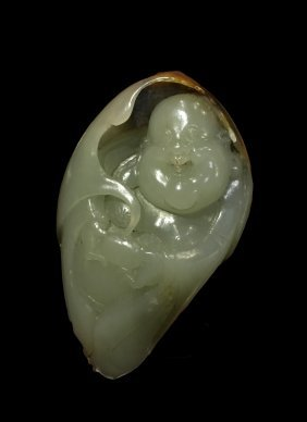 Chinese Jade Carving Of Laughing Buddha