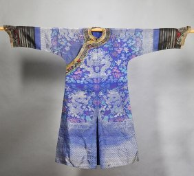 Chinese Blue Silk Robe With Dragons, 19th Century