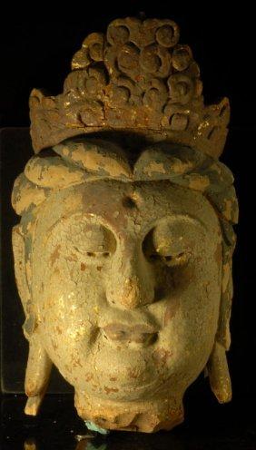 A Large Chinese Carved Wood Buddha Guanyin Head