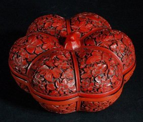 Old Chinese Carved Cinnabar Box