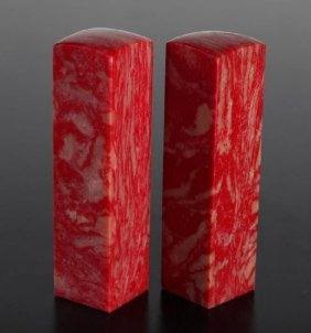 Pair Of Chinese Chicken Blood Stone Seals