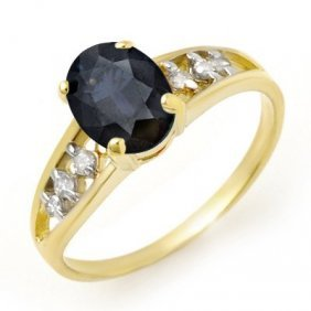 Genuine 1.60 Ctw Sapphire & Diamond Ring 10k Yellow