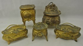 Five Victorian Ring Caskets