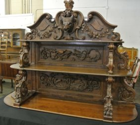 Outstanding Roux Wolf Head Carved Buffet Top.