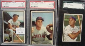 1952-1953 Bowman Cleve Indians Graded Cards. 1952 D