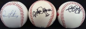 (3) Indians Single Signed Balls, Martinez, Sabathia