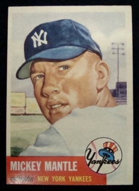 1953 Topps #82 Mickey Mantle Card