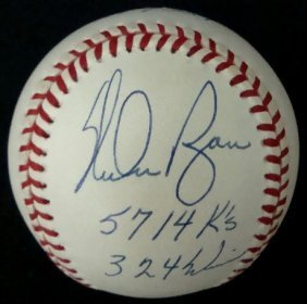 Nolan Ryan Single Signed Stat Ball