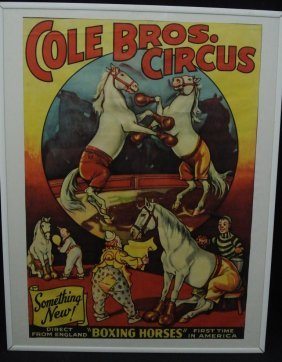 Cole Bros Boxing Horses Circus Poster Lot 197
